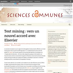 Text mining : vers un nouvel accord avec Elsevier