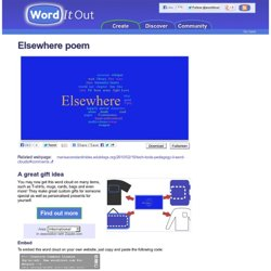 Elsewhere poem - Word cloud