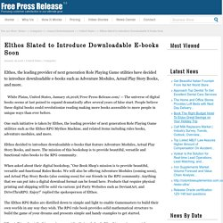 Elthos Slated to Introduce Downloadable E-books Soon