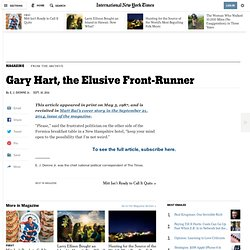 Gary Hart, the Elusive Front-Runner