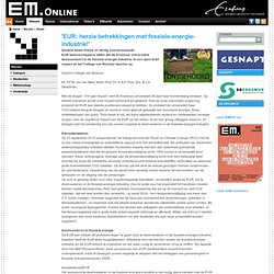 EM: 'EUR: herzie betrekkingen met fossiele-energie-industrie!'