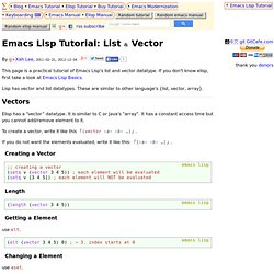 Emacs Lisp Tutorial: List & Vector