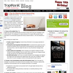 Email Marketing Tips - Copywriting - Online Marketing Blog