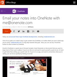 Email your notes into OneNote with me@onenote.com