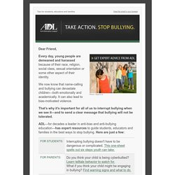 Email - Stop bullying: what you can do - ADL