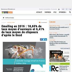 Emailing en 2016 : 18,65% de taux moyen d'ouvreurs et 6,41% de taux moyen de cliqueurs d'après le Sncd