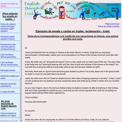 Emails y cartas en inglés: reclamación - hotel.