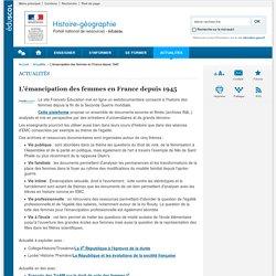 L'émancipation des femmes en France depuis 1945-Histoire-géographie-Éduscol