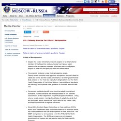 EMBASSY OF THE UNITED STATES MOSCOW RUSSIA 11/12/12 U.S. Embassy Moscow Fact Sheet: Ractopamine