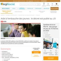 Aide à l'embauche des jeunes : le décret est publié au JO LégiSocial