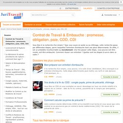 Contrat de Travail & Embauche : promesse, obligation, paie, CDD, CDI