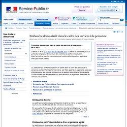 Embauche d'un salarié dans le cadre des services à la personne