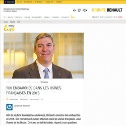 Embauches au manufacturing Renault en 2016 : 500 postes