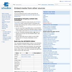 Embed media from other sources - Schoolbox Wiki