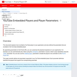 YouTube Embedded Players and Player Parameters - YouTube