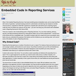 Embedded Code In Reporting Services