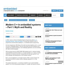 Modern C++ in embedded systems – Part 1: Myth and Reality