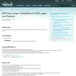 KDP basic usage - embedding on HTML pages and Playback