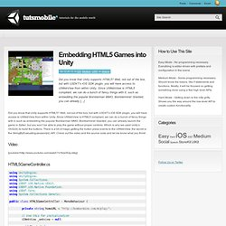 Embedding HTML5 Games into Unity - Unity3D Mobile Tutorials