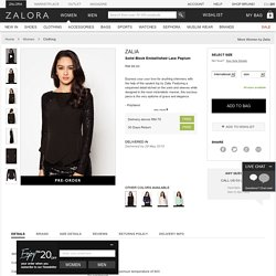 Buy Zalia Solid Block Embellished Lace Peplum Online