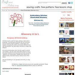 Free Embroidery Stitch Glossary Free Sewing Stitch Lessons A-L