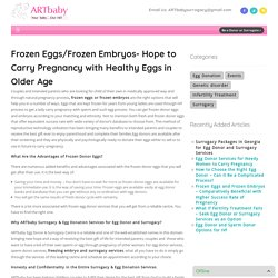 Frozen Eggs/Frozen Embryos- Hope to Carry Pregnancy with Healthy Eggs in Older Age - ART baby Egg Donors ART baby Egg Donors