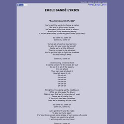 EMELI SANDÉ LYRICS - Read All About It (Pt. III)