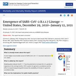Emergence of SARS-CoV-2 B.1.1.7 Lineage — United States, December 29, 2020–January 12, 2021