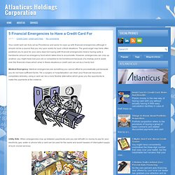 5 Financial Emergencies to Have a Credit Card For ~ Atlanticus Holdings Corporation