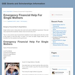 Emergency Financial Help For Single Mothers