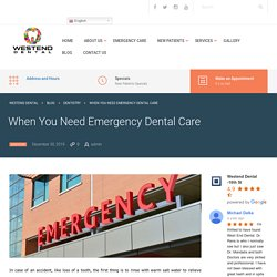When You Need Emergency Dental Care in Indianapolis, Indiana