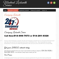 24 Hours Emergency Locksmith in Montreal