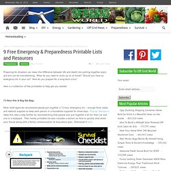 9 Free Emergency & Preparedness Printable Lists and Resources