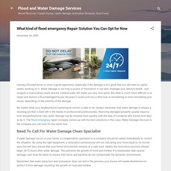 What kind of flood emergency Repair Solution You Can Opt for Now