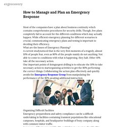 How to Manage and Plan an Emergency Response