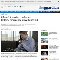 Edward Snowden condemns Britain's emergency surveillance bill