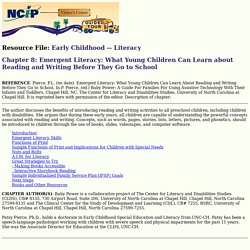 Tours-Chapter 8: Emergent Literacy: What Young Children Can Learn about Reading and Writing Before They Go to School