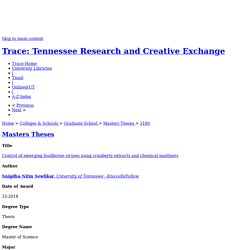 UNIVERSITY OF TENNESSEE - DEC 2014 - Thèse en ligne : Control of emerging foodborne viruses using cranberry extracts and chemical sanitizers
