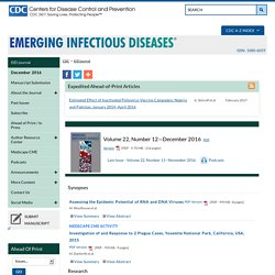 CDC EID AOUT 2006 Au sommaire: New World Hantavirus in Humans, French Guiana, S. Matheus et al.