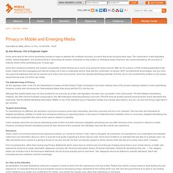 Privacy in Mobile and Emerging Media