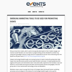 Emerging Marketing Tools to Be Used for Promoting Events