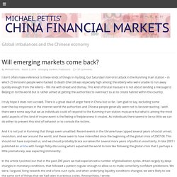 Will emerging markets come back?