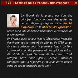 Liberté de la presse. Déontologie