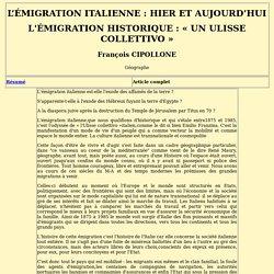 L'EMIGRATION ITALIENNE : HIER ET AUJOURD'HUI Cippoline ?????