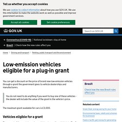 Low-emission vehicles eligible for a plug-in grant