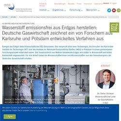 Wasserstoff emissionsfrei aus Erdgas herstellen: Deutsche Gaswirtschaft zeichnet ein von Forschern aus Karlsruhe und Potsdam entwickeltes Verfahren aus