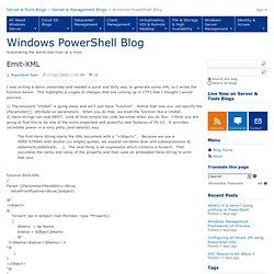 Emit-XML - Windows PowerShell Blog