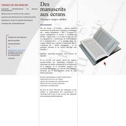Emmanuel Souchier - Thèmes de recherche