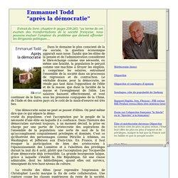 """Emmanuel Todd; """"après la démocratie"""""""
