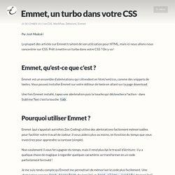 Emmet, un turbo dans votre CSS